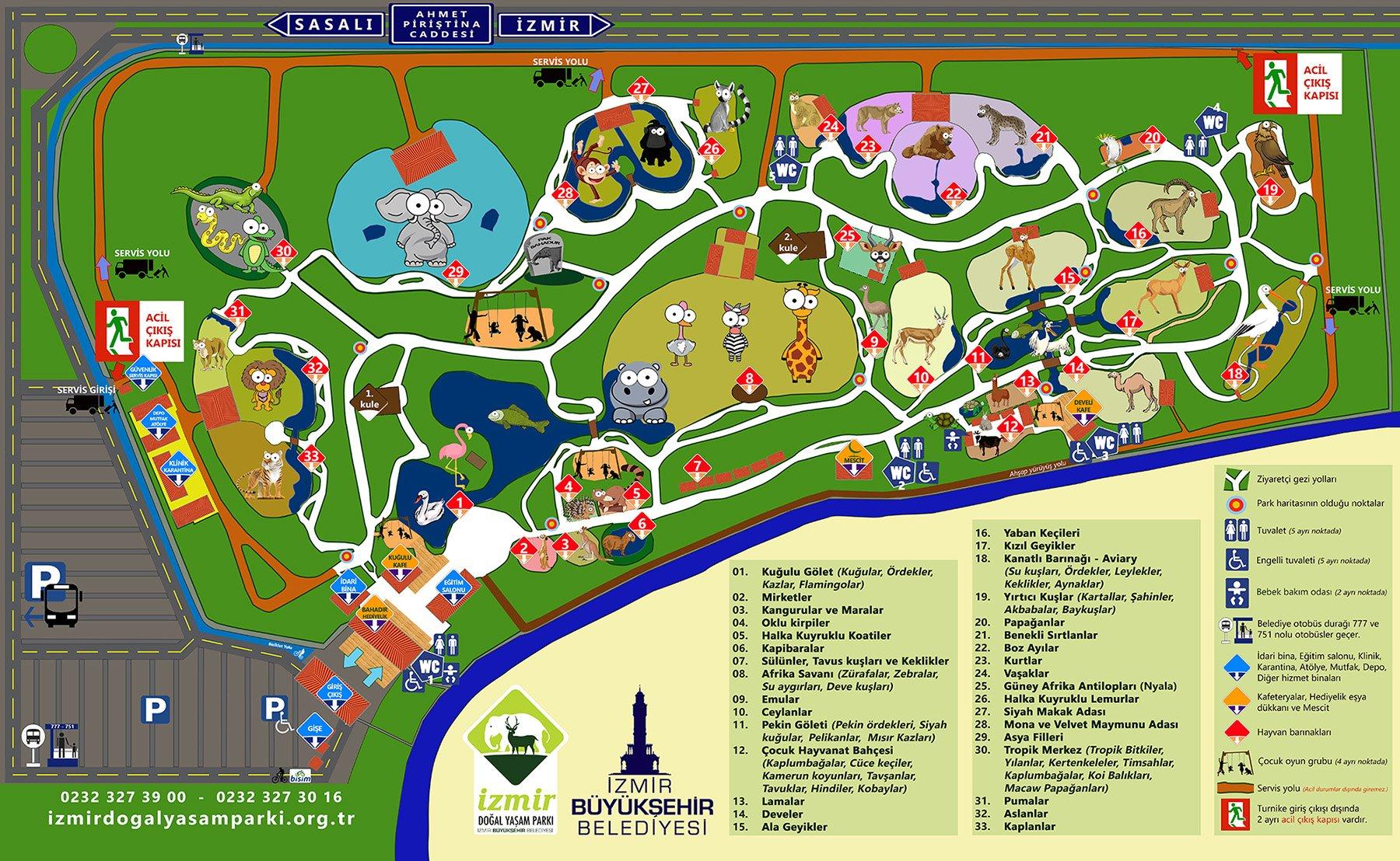 İzmir Doğal Yaşam Parkı Haritası